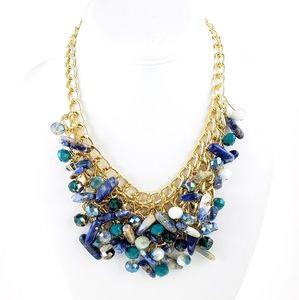 Bib Statement Necklace Stones + Crystal Beads